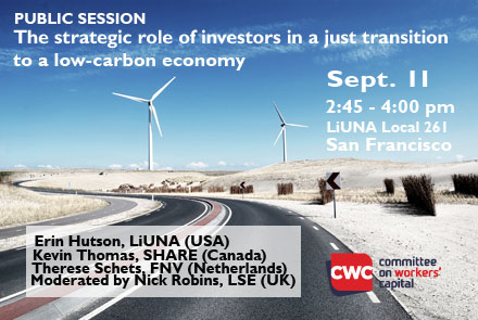 2018 Workers' Capital Conference Public Event: The strategic role of investors in a just transition to a low-carbon economy